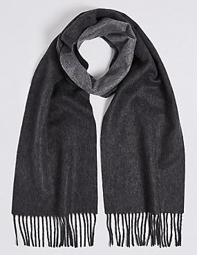 Reversible Pure Cashmere Scarf, CHARCOAL, catlanding