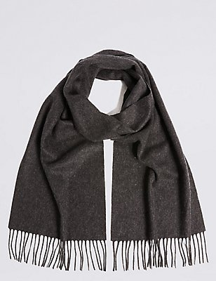 Extra Wide Pure Cashmere Woven Scarf , CHARCOAL, catlanding