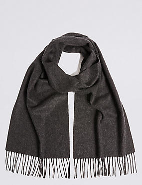 Pure Cashmere Wider Width Scarf, CHARCOAL, catlanding