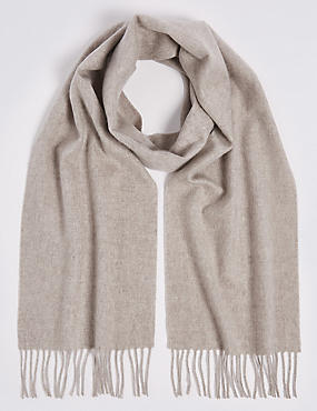 Pure Cashmere Woven Scarf, OATMEAL, catlanding