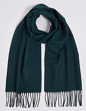 Brushed Woven Scarf, BOTTLE GREEN, catlanding