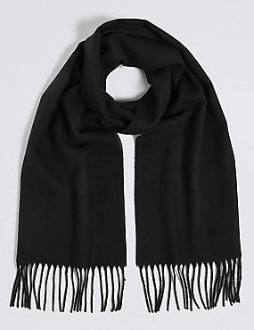Brushed Woven Scarf, BLACK, catlanding