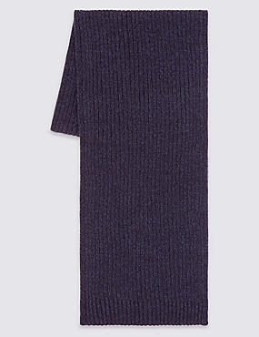 Pure Cotton Scarf with StayNEW™, NAVY, catlanding