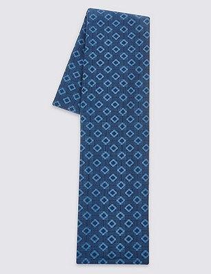Pure Cotton Geometric Print Lightweight Scarf, BLUE MIX, catlanding