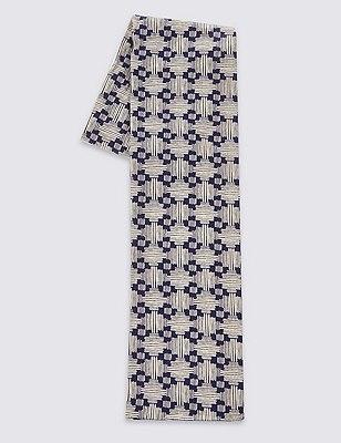 Pure Cotton Geometric Print Lightweight Scarf, NATURAL MIX, catlanding