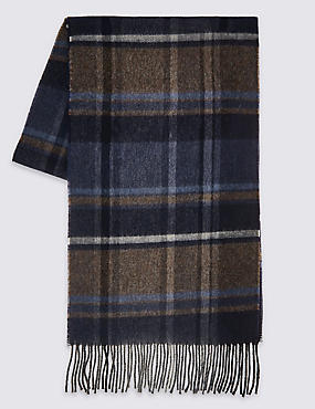 Pure Wool Checked Scarf, OATMEAL, catlanding
