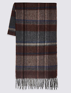 Pure Wool Checked Scarf, BURGUNDY, catlanding