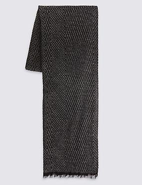 Lightweight Textured Scarf, CHARCOAL MIX, catlanding