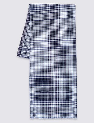 Pure Cotton Checked Scarf, NAVY MIX, catlanding