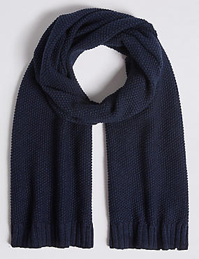 Textured Pure Cotton Knitted Scarf, NAVY, catlanding