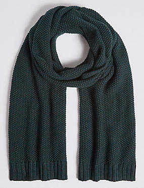 Textured Pure Cotton Knitted Scarf, KHAKI, catlanding