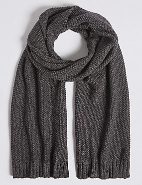 Textured Pure Cotton Knitted Scarf, CHARCOAL, catlanding