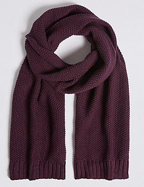 Textured Pure Cotton Knitted Scarf, BURGUNDY, catlanding