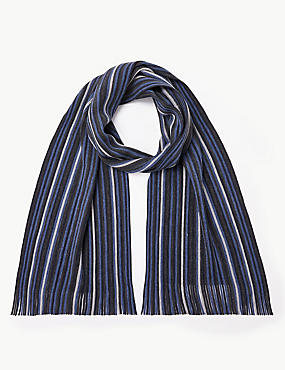 Striped Rochelle Scarf, NAVY MIX, catlanding