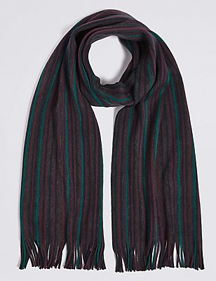 Striped Raschel Scarf, BURGUNDY MIX, catlanding
