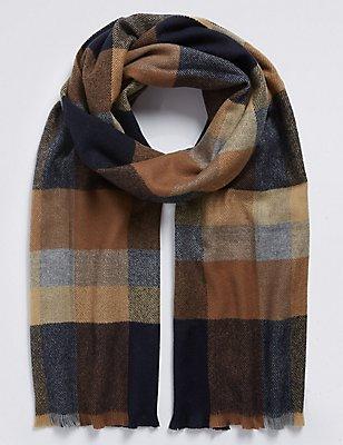 Overcheck Woven Blanket Scarf , OATMEAL MIX, catlanding