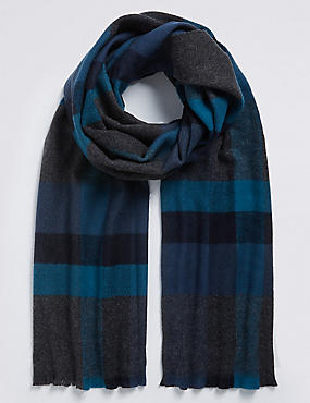 Overcheck Woven Blanket Scarf , TEAL MIX, catlanding
