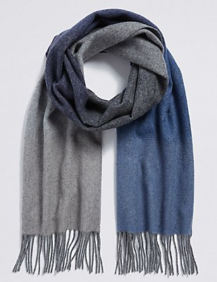 Écharpe extra-fine en laine à motif dégradé, GRIS ASSORTI, catlanding