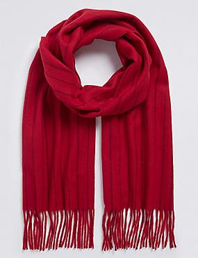 Tonal Pinstripe Wool Woven Scarf, RED, catlanding
