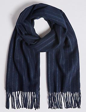 Tonal Pinstripe Wool Woven Scarf, NAVY, catlanding