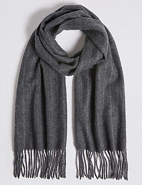 Tonal Pinstripe Wool Woven Scarf, GREY, catlanding