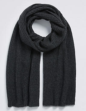 Pure Cashmere Knitted Rib Scarf, GREY, catlanding