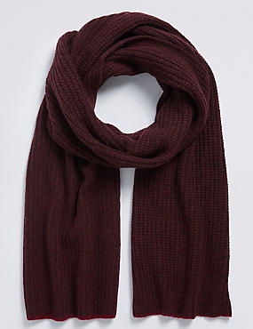 Pure Cashmere Knitted Rib Scarf, BURGUNDY, catlanding