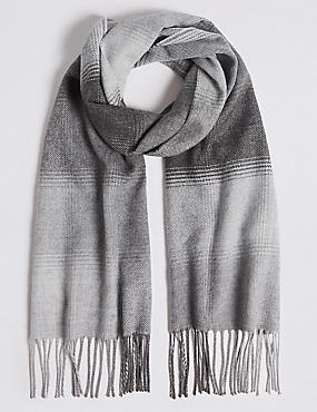 Ombre Checked Woven Scarf, GREY, catlanding