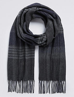 Herringbone Checked Woven Scarf, NAVY/GREY, catlanding