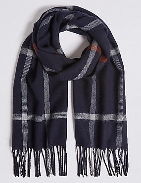 Windowpane Woven Scarf, NAVY MIX, catlanding
