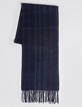 Pinstripe Pure Cashmere Woven Scarf, BURGUNDY MIX, catlanding