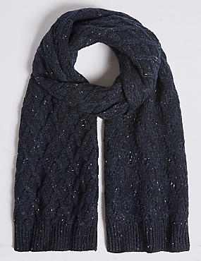 Nepped Cable Knitted Scarf, NAVY, catlanding