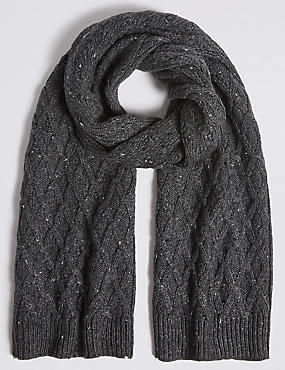 Nepped Cable Knitted Scarf, CHARCOAL, catlanding