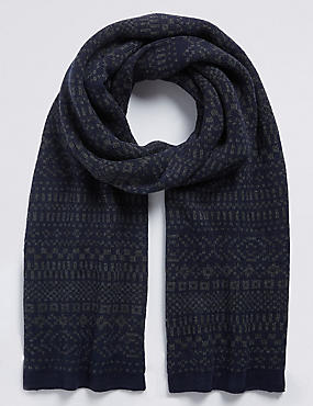 Fairisle Knitted Scarf, NAVY MIX, catlanding