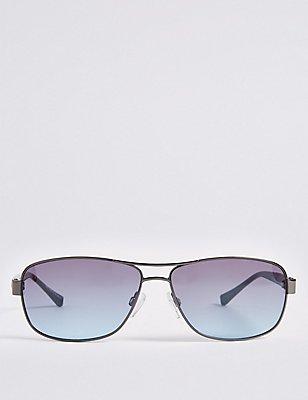 Double Bridge Rectangular Frame Sunglasses, GUNMETAL, catlanding