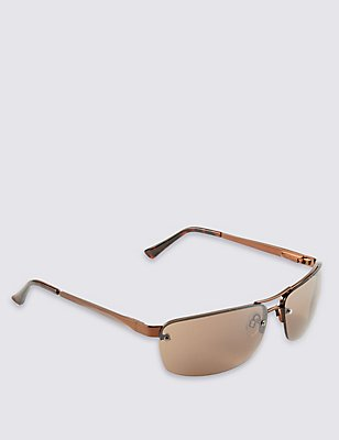 Double Bridge Rimless Sunglasses, BRONZE, catlanding
