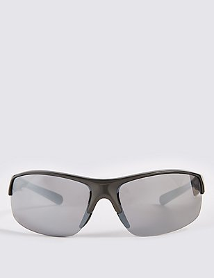 Half Rim Sports Wrap Sunglasses, SILVER GREY, catlanding