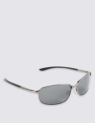 Polarisierte ovale Sonnenbrille, METALLISCHES BLAUGRAU, catlanding