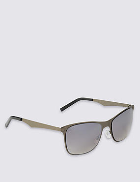 Stainless Steel Reverse Groove Retro Sunglasses