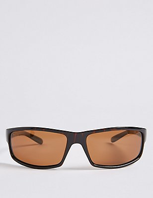 Polarised Rectangular Wrap Sunglasses, BROWN, catlanding
