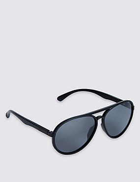 Polarised Aviator Sunglasses, BLACK, catlanding