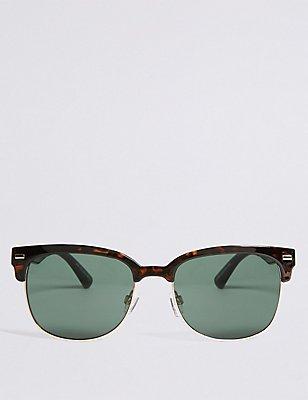 Retro-Sonnenbrille mit D-Rahmen, BRAUN MELANGE, catlanding