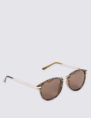 Metal Round Frame Sunglasses, BROWN, catlanding