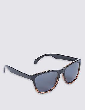 Retro Plastic Grad Tort Sunglasses, BROWN MIX, catlanding