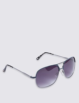 Square Aviator Sunglasses, GUNMETAL, catlanding