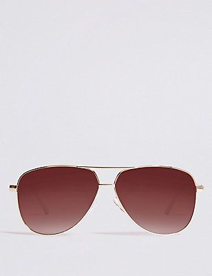 Classic Aviator Sunglasses, BROWN, catlanding