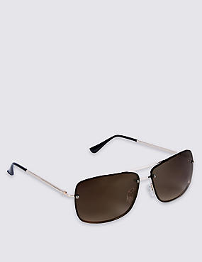 Slim Aviator Rimless Sunglasses, BROWN, catlanding