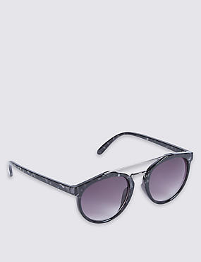 Round Brow Bar Sunglasses, NAVY MIX, catlanding