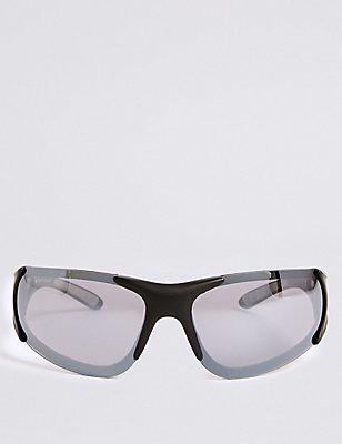 Stoßfeste Sonnenbrille mit Rundbügeln, SCHWARZ/GRAU, catlanding