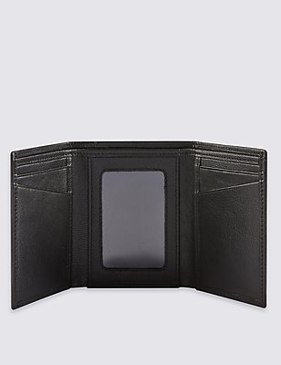 Smooth Leather Tri Fold ID Wallet, BLACK, catlanding
